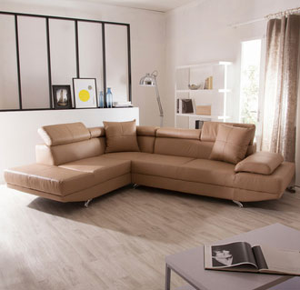 canape d'angle en cuir beige