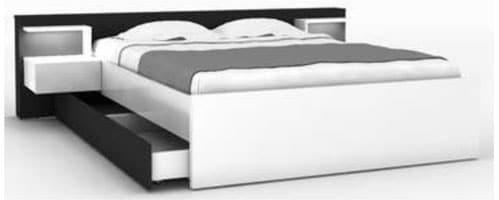 Lit 140x190 cm + 2 chevets + tiroir LANO coloris blanc et noir